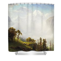 Majesty Of The Mountains Shower Curtain by Albert Bierstadt