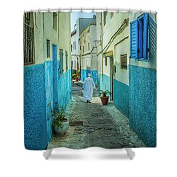Man In White Djellaba Walking In Medina Of Rabat Shower Curtain