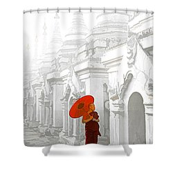 Mandalay Monk Shower Curtain by Dennis Cox WorldViews
