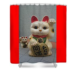 A Figure Of A Beckoning Cat, Called 'manekineko' Shower Curtain