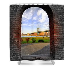 Manhattan Bridge Framed Shower Curtain by Mark Gilman