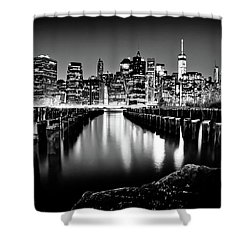 Shower Curtain featuring the photograph Manhattan Skyline At Night by Az Jackson