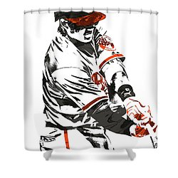 Manny Machado Baltimore Orioles Pixel Art Shower Curtain