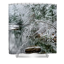 Shower Curtain featuring the photograph March Snow Cranberry River by Thomas R Fletcher