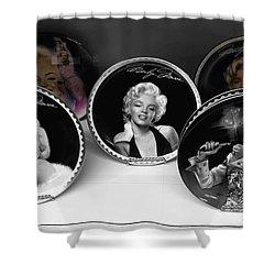Marilyn And Elvis Shower Curtain by Daniel Hagerman