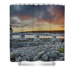 Marshall Point Lighthouse At Sunset, Maine, Usa Shower Curtain