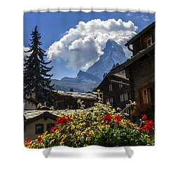 Matterhorn And Zermatt Village Houses, Switzerland Shower Curtain
