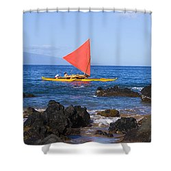 Maui Sailing Canoe Shower Curtain by Ron Dahlquist - Printscapes