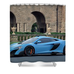 Shower Curtain featuring the photograph #mclaren #675lt With #pirelli #tires by ItzKirb Photography