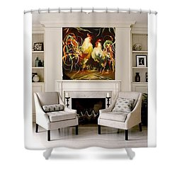 Meeting Shower Curtain by Heather Roddy