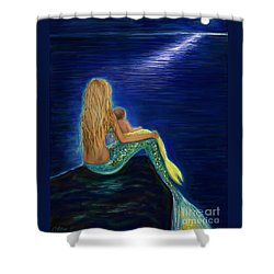Shower Curtain featuring the painting Mermaids Sweet Babies Moon by Leslie Allen