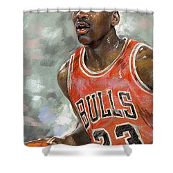Michael Jordan Shower Curtain by Ylli Haruni