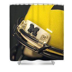 Shower Curtain featuring the photograph Michigan M by Michigan Helmet