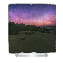 Milky Way Beach Shower Curtain by Robert Loe