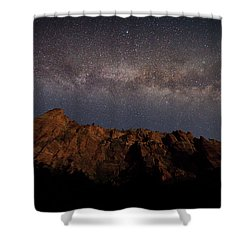 Milky Way Galaxy Over Zion Canyon Shower Curtain