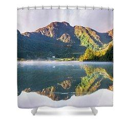 Misty Dawn Lake Shower Curtain