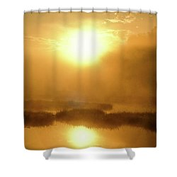 Shower Curtain featuring the photograph Misty Gold by Tatsuya Atarashi