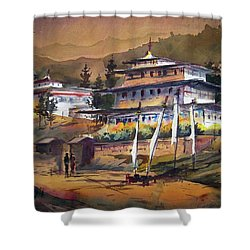 Monastery In Himalaya Mountain Shower Curtain