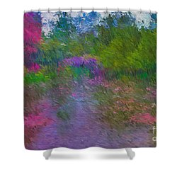 Monet's Lily Pond Shower Curtain by Jim  Hatch