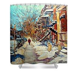Montreal Street In Winter Shower Curtain by Carole Spandau