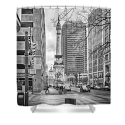 Shower Curtain featuring the photograph Monument Circle by Howard Salmon