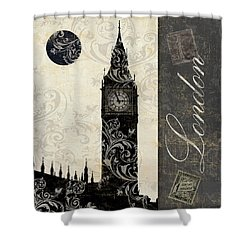 Moon Over London Shower Curtain by Mindy Sommers