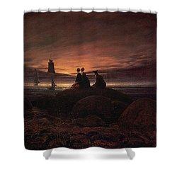 Moon Rising Over The Sea Shower Curtain by Caspar David Friedrich