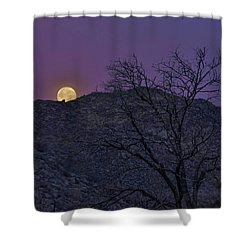 Moon Set At Sunrise Shower Curtain