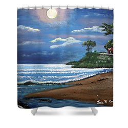 Moonlight In Rincon II Shower Curtain by Luis F Rodriguez