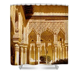 Moorish Architecture In The Nasrid Palaces At The Alhambra Granada Shower Curtain by Mal Bray