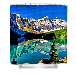 Moraine Lake Shower Curtain by Dennis Cox WorldViews