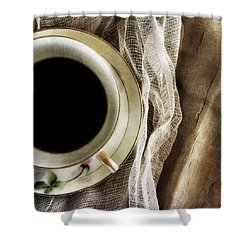 Shower Curtain featuring the photograph Morning Coffee by Bonnie Bruno