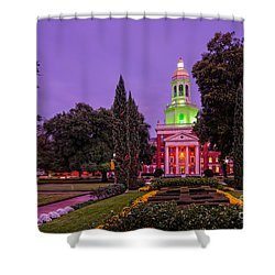 Morning Twilight Shot Of Pat Neff Hall From Founders Mall At Baylor University - Waco Central Texas Shower Curtain