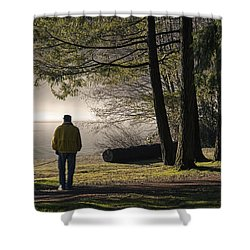 Shower Curtain featuring the photograph Morning Walk by Inge Riis McDonald