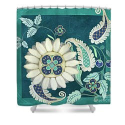 Moroccan Paisley Peacock Blue 1 Shower Curtain by Audrey Jeanne Roberts