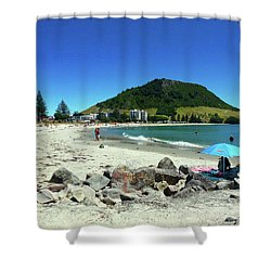 Mount Maunganui Beach 1 - Tauranga New Zealand Shower Curtain by Selena Boron