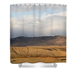 Mountain Meadow And Hay Bales In Grand County Shower Curtain by Carol M Highsmith