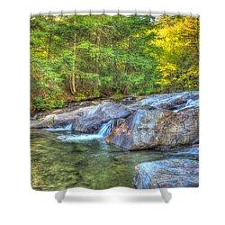 Mountain Stream Waterfalls Shower Curtain