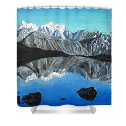 Mountains Landscape Acrylic Painting Shower Curtain by Natalja Picugina