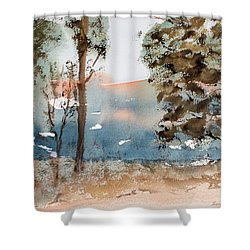 Mt Field Gum Tree Silhouettes Against Salmon Coloured Mountains Shower Curtain