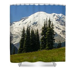 Mt. Rainier Alpine Meadow Shower Curtain