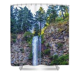 Shower Curtain featuring the photograph Multnomah Falls Cliff by Jonny D