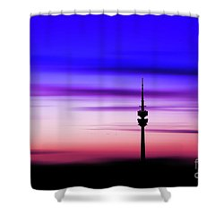 Shower Curtain featuring the photograph Munich - Olympiaturm At Sunset by Hannes Cmarits