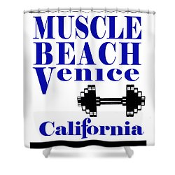 Shower Curtain featuring the photograph Muscle Beach Sign by Robert Hebert