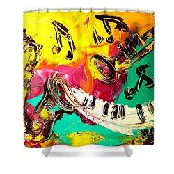 Music Jazz Shower Curtain by Mark Kazav