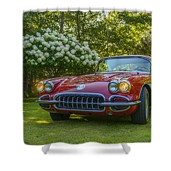 My 1960 Corvette Shower Curtain by Ken Morris