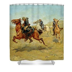 Shower Curtain featuring the painting My Bunkie by Charles Schreyvogel