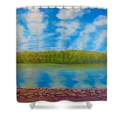 My Serenity Lies In A Place Between Heaven And Earth Shower Curtain