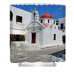 Mykonos Red Chapel Shower Curtain