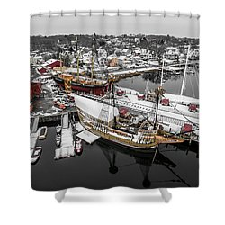 Mystic Seaport In Winter Shower Curtain by Petr Hejl